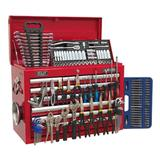 Sealey Topchest 10 Drawer with Ball Bearing Runners & 138 Piece Tool Kit - Red