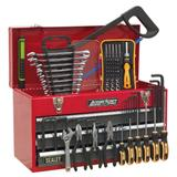 Sealey Portable Tool Chest 3 Drawer Ball Bearing Runners Red & 93 Piece Tool Kit