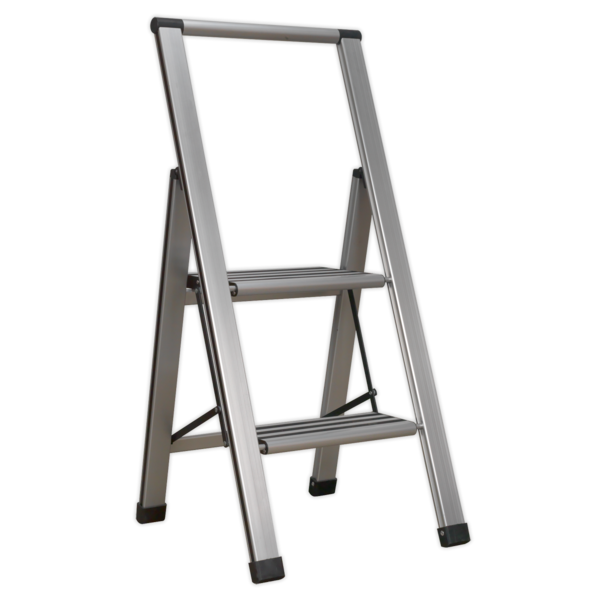 Sealey APSL2 Aluminium Professional Folding Step Ladder 2-Step 150kg Capacity Thumbnail 1