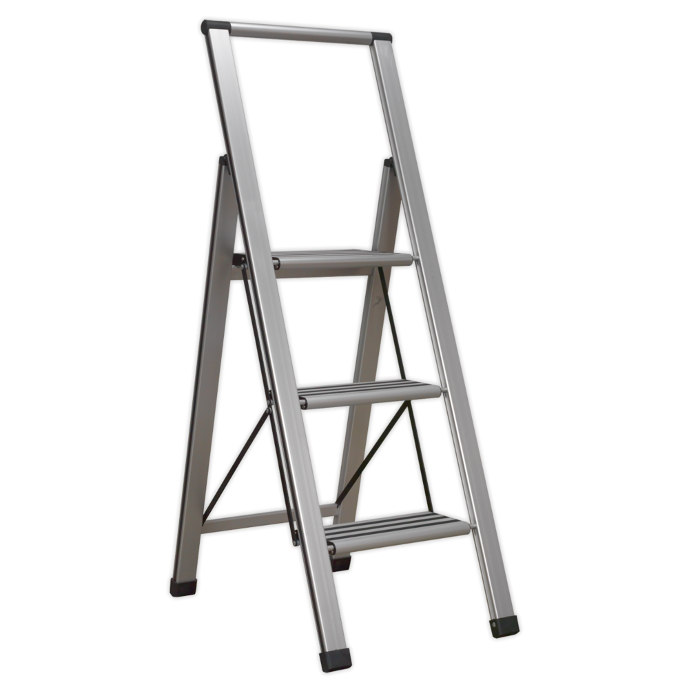 Sealey APSL3 Aluminium Professional Folding Step Ladder 3-Step 150kg Capacity