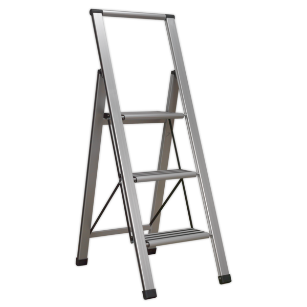 Sealey APSL3 Aluminium Professional Folding Step Ladder 3-Step 150kg Capacity Thumbnail 1