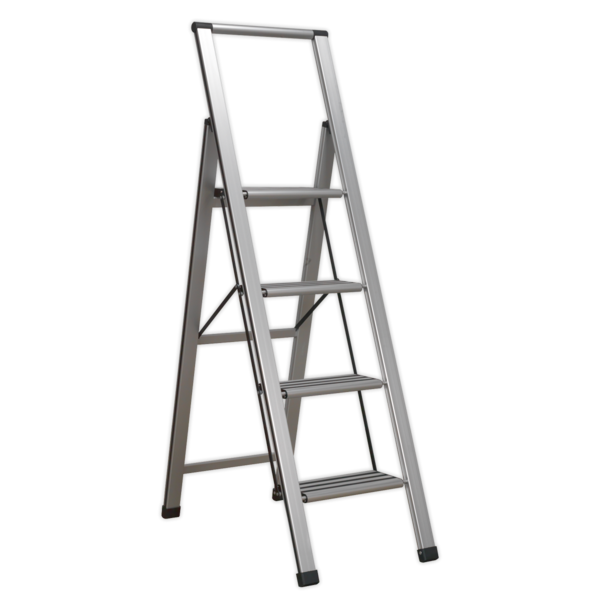 Sealey APSL4 Aluminium Professional Folding Step Ladder 4-Step 150kg Capacity Thumbnail 1