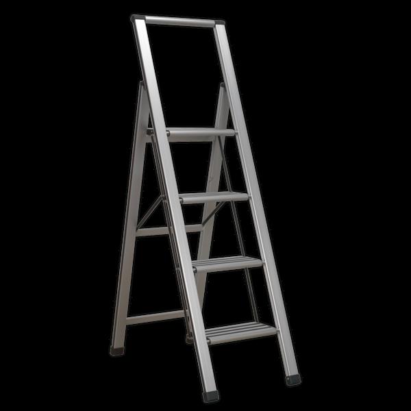 Sealey APSL4 Aluminium Professional Folding Step Ladder 4-Step 150kg Capacity Thumbnail 1