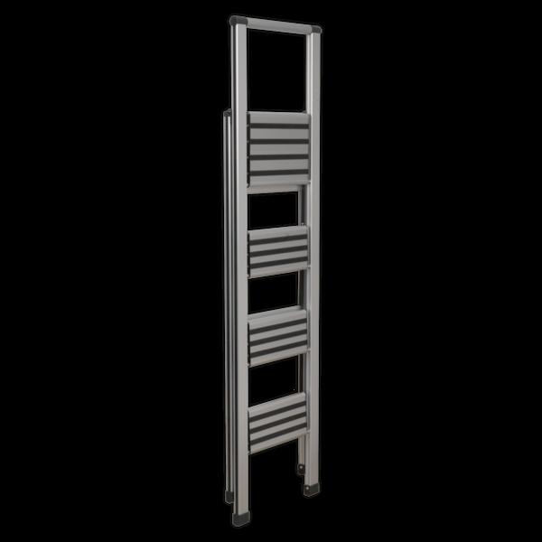 Sealey APSL4 Aluminium Professional Folding Step Ladder 4-Step 150kg Capacity Thumbnail 2