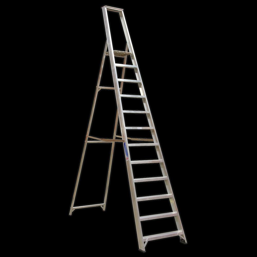 Sealey AXL12 Aluminium Step Ladder 12-Tread Industrial BS 2037/1