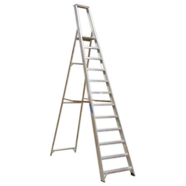 Sealey AXL12 Aluminium Step Ladder 12-Tread Industrial BS 2037/1 Thumbnail 1
