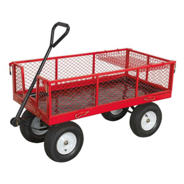 Sealey CST806 Platform Truck with Sides Pneumatic Tyres 450kg Capacity Thumbnail 1