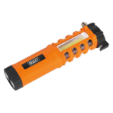 Sealey LED059 Emergency Torch/Belt Cutter/Hammer 2W COB + 16 Red LED + 1W LED