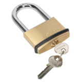 Sealey PL203L Brass Body Padlock Long Shackle 60mm