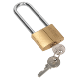 Sealey S0989 Brass Body Padlock with Brass Cylinder Long Shackle 40mm