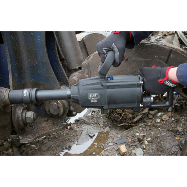 "Sealey SA687 Air Impact Wrench 1"" Sq Drive Twin Hammer Straight Long Anvil Thumbnail 3"