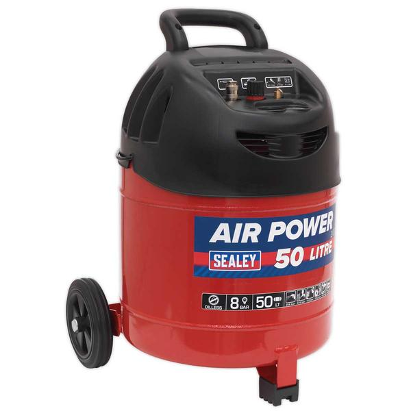 Sealey SAC03250 Compressor 50ltr Belt Drive 1.5hp Oil Free Thumbnail 2