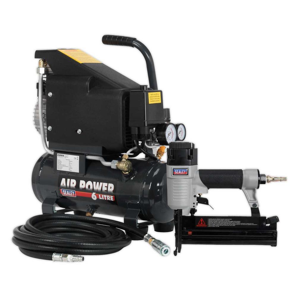 Sealey SAC0610EKIT Air Nail/Staple Gun Kit with Compressor Hose & Nailer/Stapler