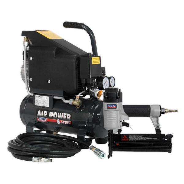 Sealey SAC0610EKIT Air Nail/Staple Gun Kit with Compressor Hose & Nailer/Stapler Thumbnail 1