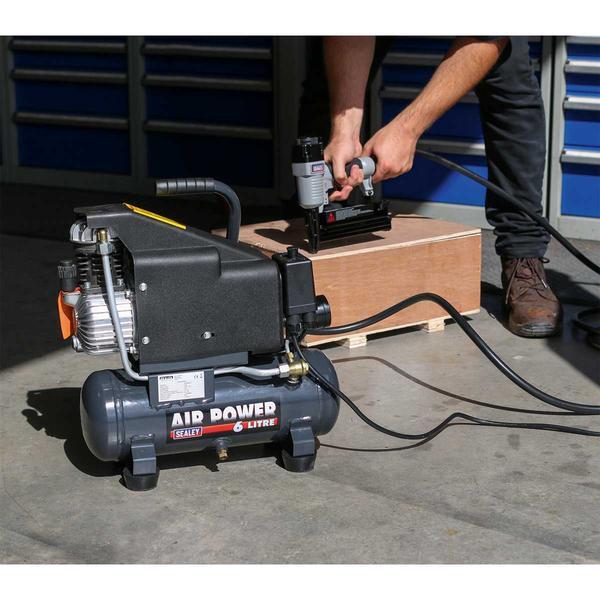 Sealey SAC0610EKIT Air Nail/Staple Gun Kit with Compressor Hose & Nailer/Stapler Thumbnail 4