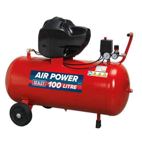 Sealey SAC10030F Compressor 100ltr V-Twin Belt Drive 3hp Oil Free Thumbnail 1