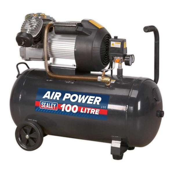 Sealey SAC10030VE Compressor 100ltr V-Twin Direct Drive 3hp Thumbnail 1
