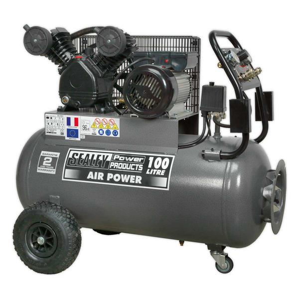 Sealey SAC3103B Compressor 100ltr Belt Drive 3hp with Front Control Panel Thumbnail 1