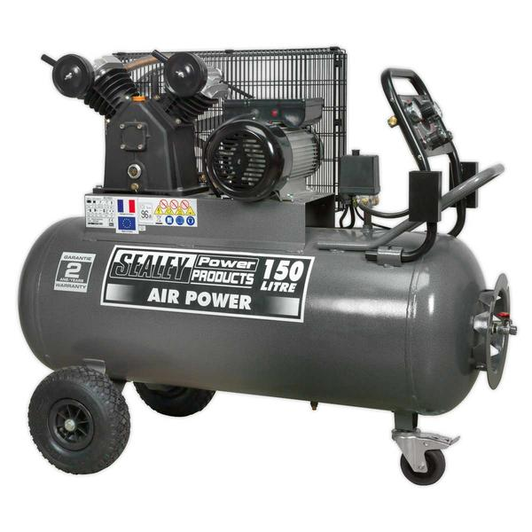Sealey SAC3153B Compressor 150ltr Belt Drive 3hp with Front Control Panel Thumbnail 1