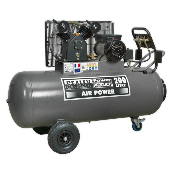 Sealey SAC3203B Compressor 200ltr Belt Drive 3hp with Front Control Panel Thumbnail 1