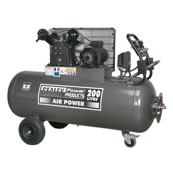 Sealey SAC3203B3PH Compressor 200ltr Belt Drive 3hp Front Control Panel 415V 3ph Thumbnail 1