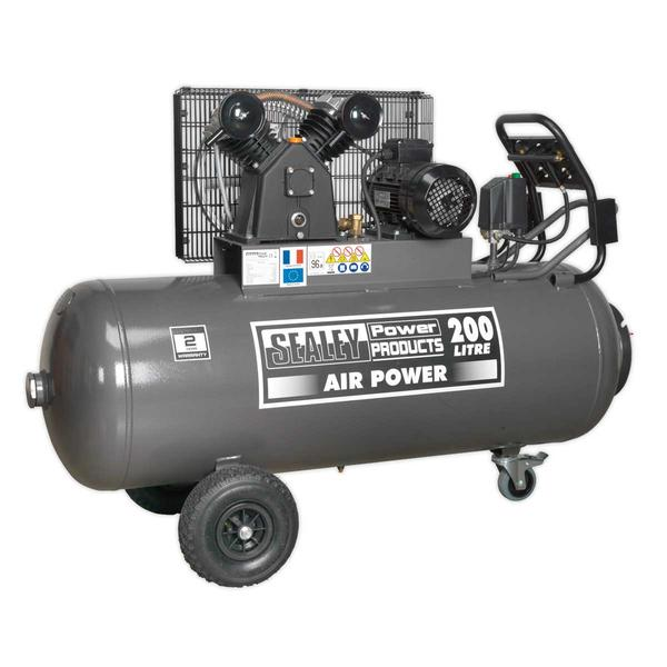 Sealey SAC3203B3PH Compressor 200ltr Belt Drive 3hp Front Control Panel 415V 3ph Thumbnail 2