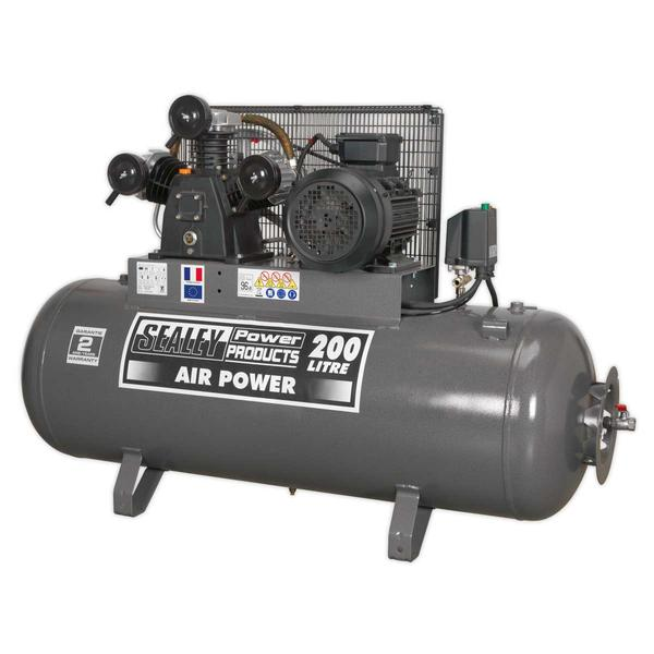 Sealey SAC32055B Compressor 200ltr Belt Drive 5.5hp 3ph Thumbnail 1