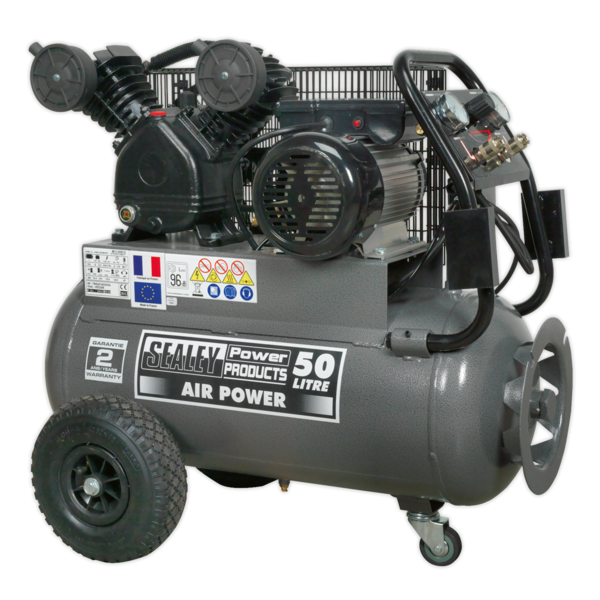 Sealey SAC3503B Compressor 50ltr Belt Drive 3hp with Front Control Panel Thumbnail 1