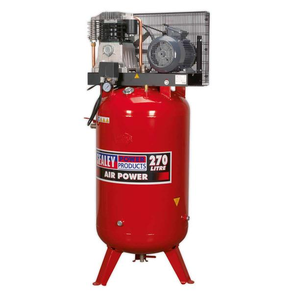 Sealey Air Compressor 270L Vertical Belt Drive 5.5hp 3ph 2-Stage Cast Cylinders Thumbnail 2