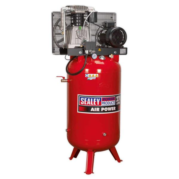 Sealey Air Compressor 270L Vertical Belt Drive 7.5hp 3ph 2-Stage Cast Cylinders Thumbnail 1
