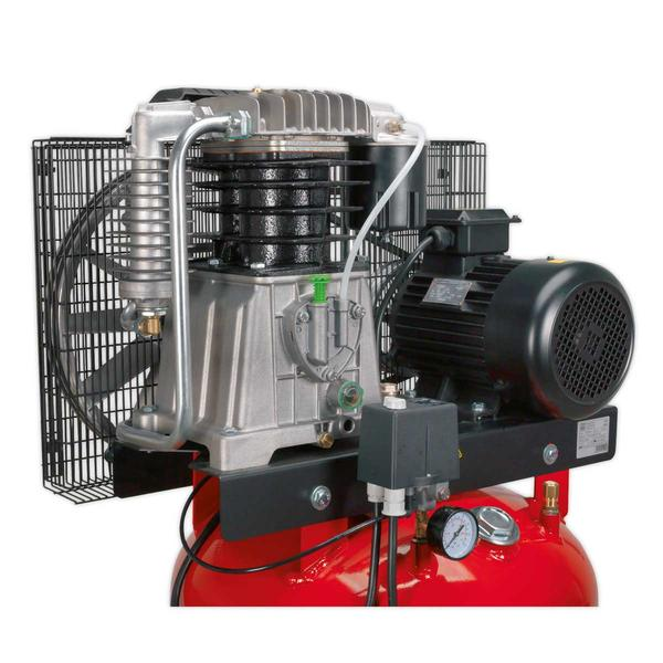 Sealey Air Compressor 270L Vertical Belt Drive 7.5hp 3ph 2-Stage Cast Cylinders Thumbnail 2