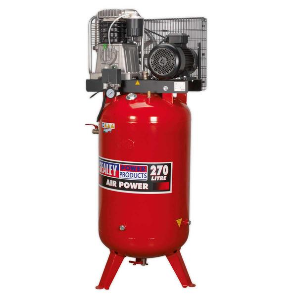 Sealey Air Compressor 270L Vertical Belt Drive 7.5hp 3ph 2-Stage Cast Cylinders Thumbnail 3