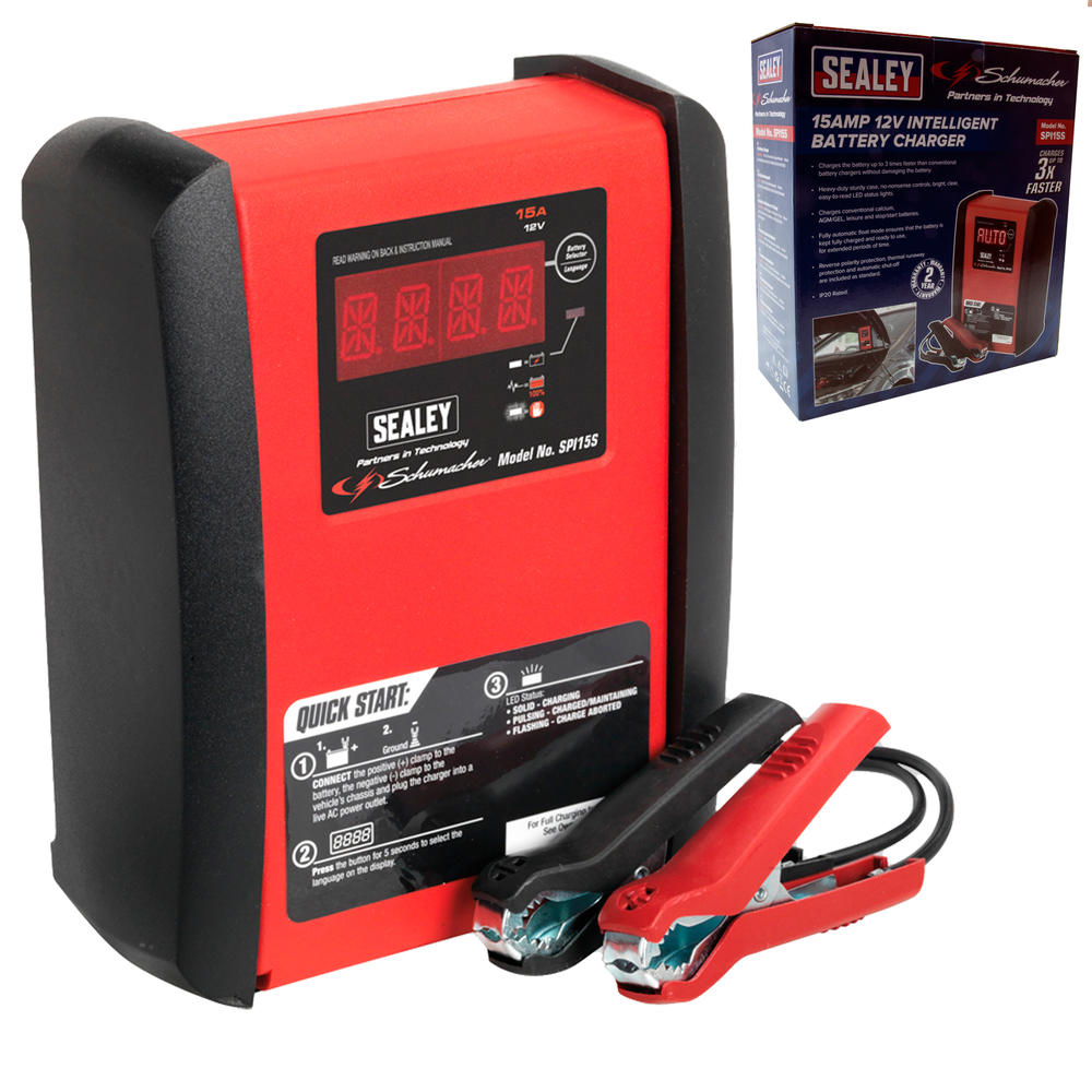 Sealey SPI15S Intelligent Speed Charge Battery Charger 15 Amp 12V