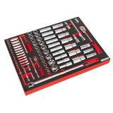 "Sealey TBTP01 Tool Tray with Socket Set 1/4"" & 1/2"" Square Drive (79 Piece)"