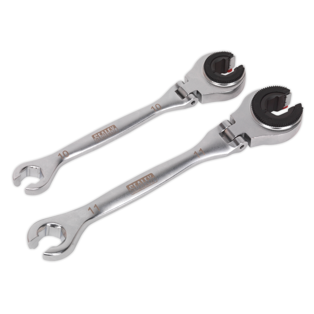 Sealey VS0356 Brake Pipe Ratcheting Spanner Set 2pc