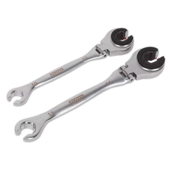 Sealey VS0356 Brake Pipe Ratcheting Spanner Set 2pc Thumbnail 1
