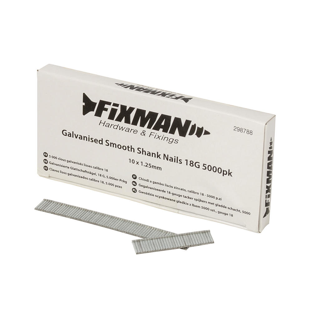 Fixman 298788 Galvanised Smooth Shank Nails 10mm x 1.25mm 18G 5000pk