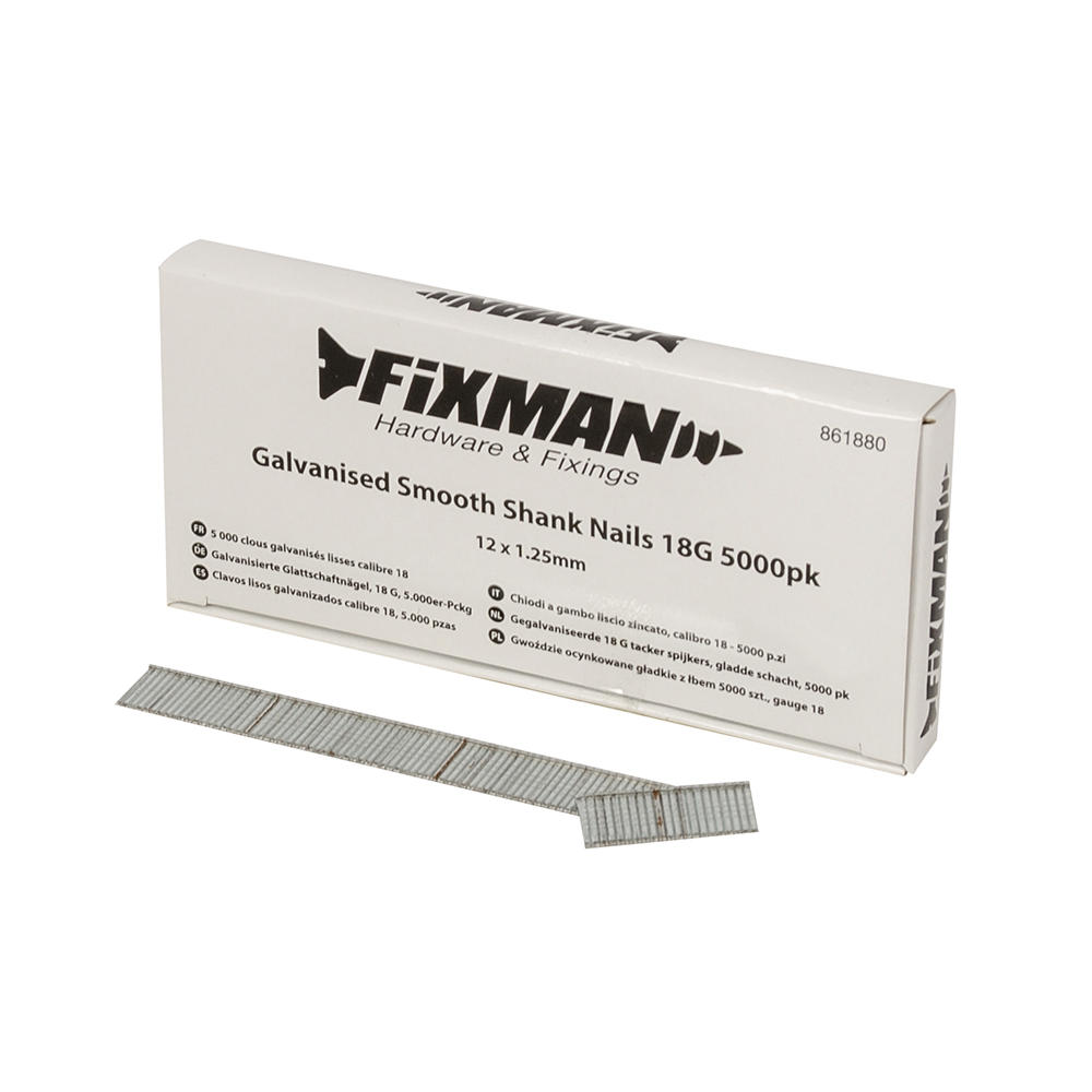 Fixman 861880 Galvanised Smooth Shank Nails 12mm x 1.25mm 18G 5000pk