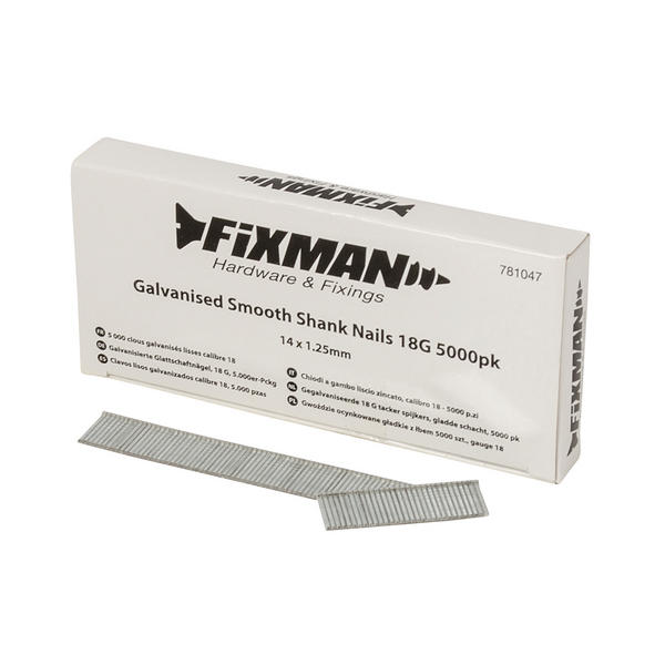Fixman 781047 Galvanised Smooth Shank Nails 14mm x 1.25mm 18G 5000pk Thumbnail 1