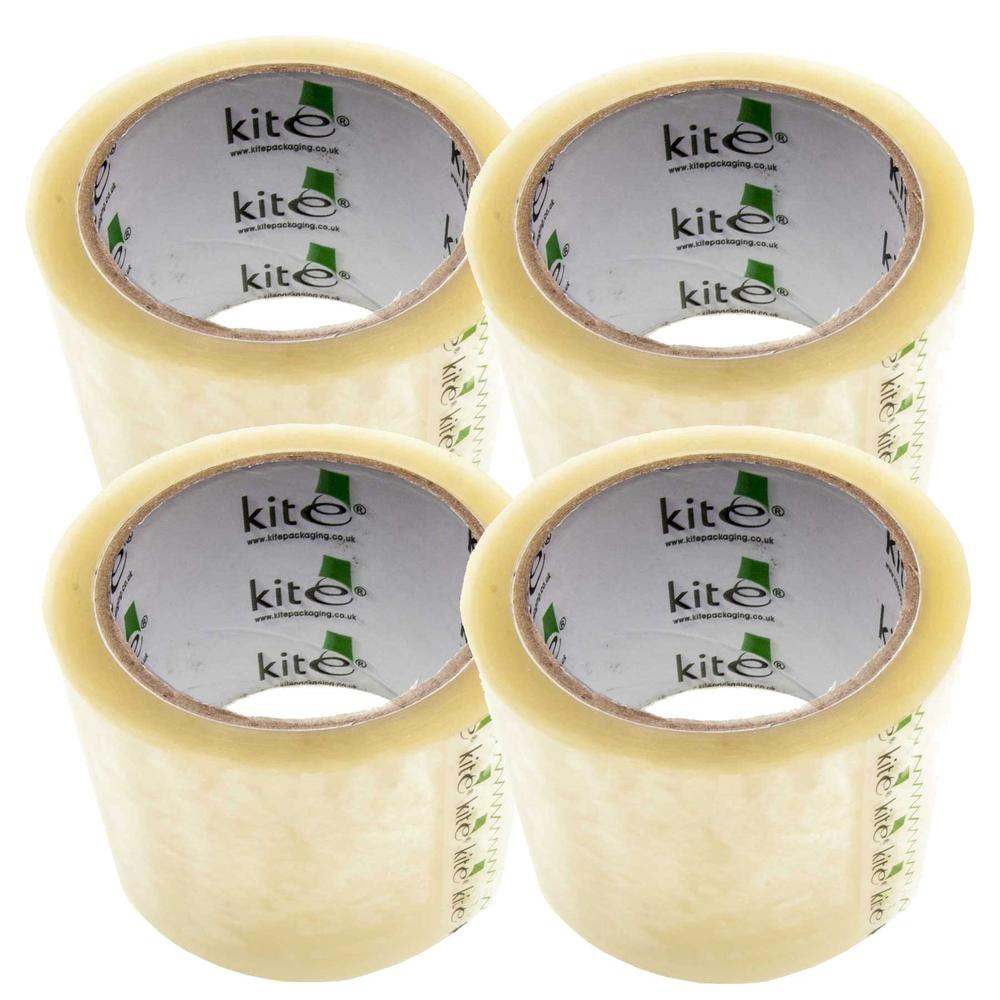 4 Pack of Kite 3m 75mm Wide Clear Packing Tape