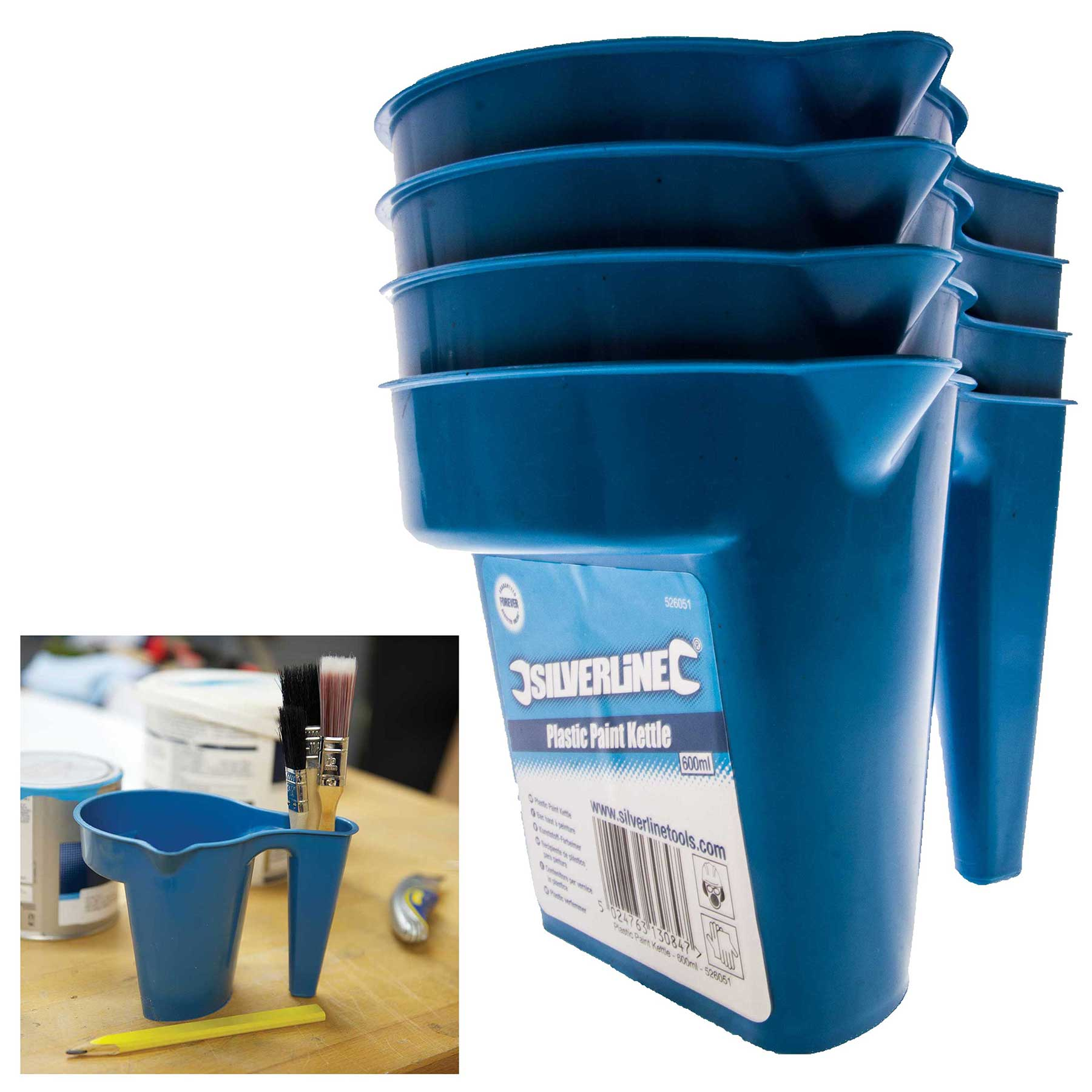 Silverline plastic paint kettle ml pack of