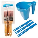 Silverline Paint Kettle/Paintbrush Holder with Mixing Sticks & Paint Brush Set