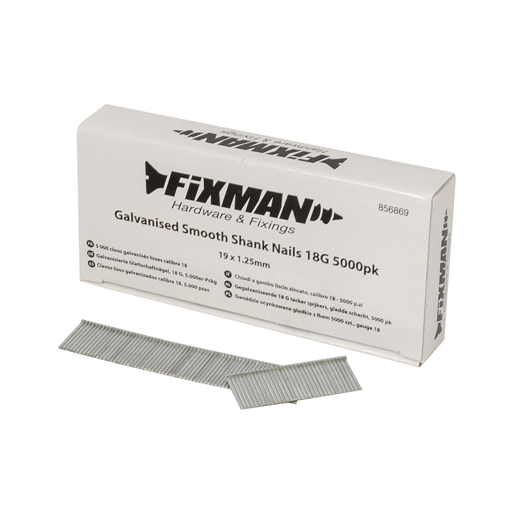 Fixman 856869 Galvanised Smooth Shank Nails 19mm x 1.25mm 18G 5000pk