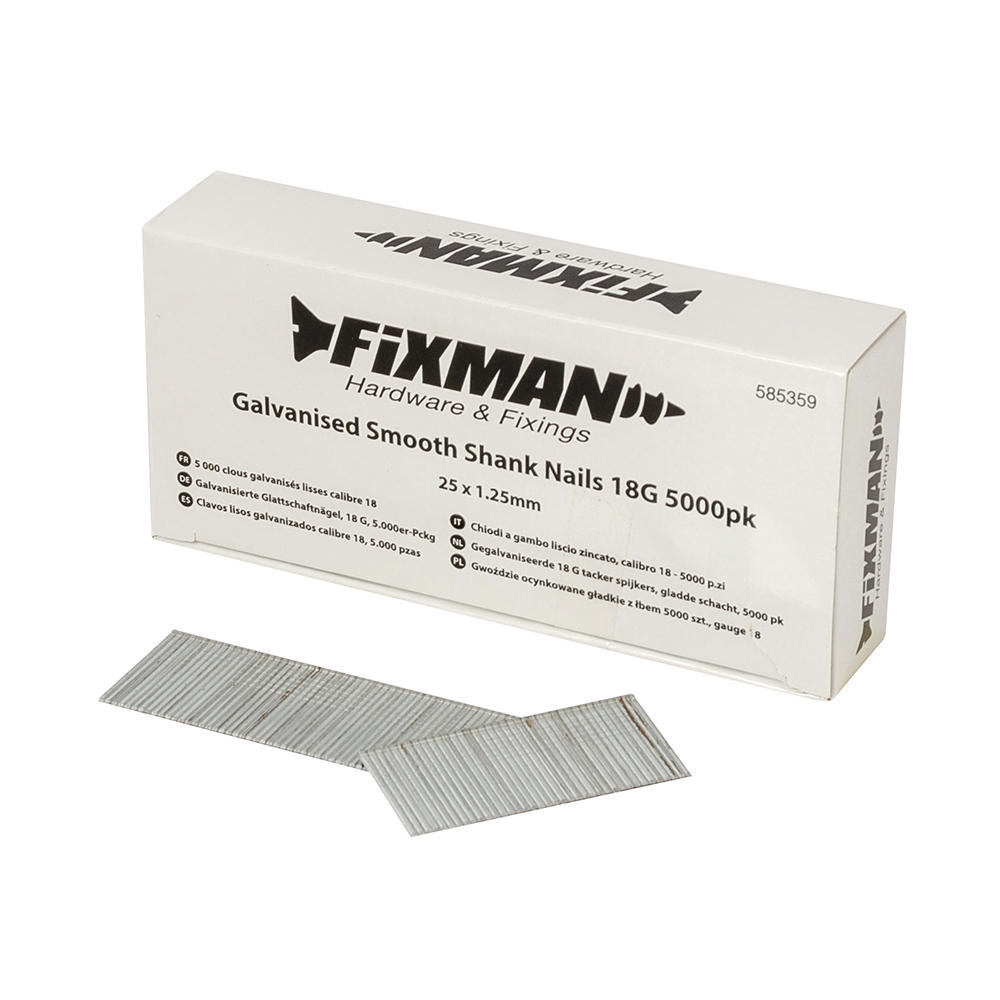 Fixman 585359 Galvanised Smooth Shank Nails 25mm x 1.25mm 18G 5000pk