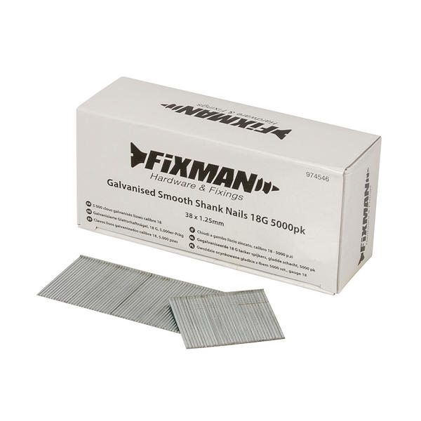 Fixman 974546 Galvanised Smooth Shank Nails 38mm x 1.25mm 18G 5000pk Thumbnail 1