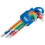 Draper 66143 Expert Metric Coloured Long Arm Draper TX-STAR® Key Set 9Pc