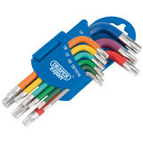 Draper 66135 Expert Metric Coloured Short Arm TX-STAR® Key Set (9 Piece)