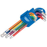 Draper 66132 Expert Metric Coloured Extra Long Hexagon and Ball End Key Set 9Pc