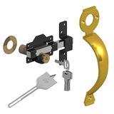 Gatemate 149 0196 Double Locking Rimlock 70mm, Brass Handle & Spade Drill