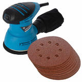 Silverline 870944 240W Random Orbit Sander Kit with 10 x 125mm Sanding Discs 60 Grit 125mm